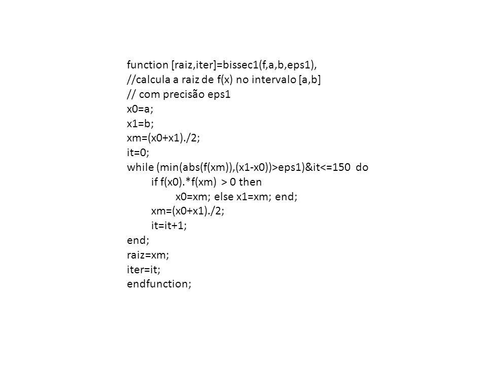function [raiz,iter]=bissec1(f,a,b,eps1),